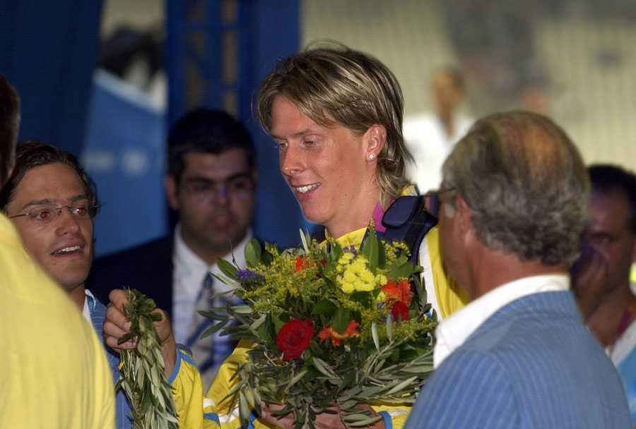 OS I ATEN 2004 Gratuleras av kungen, Carl XVI Gustaf.