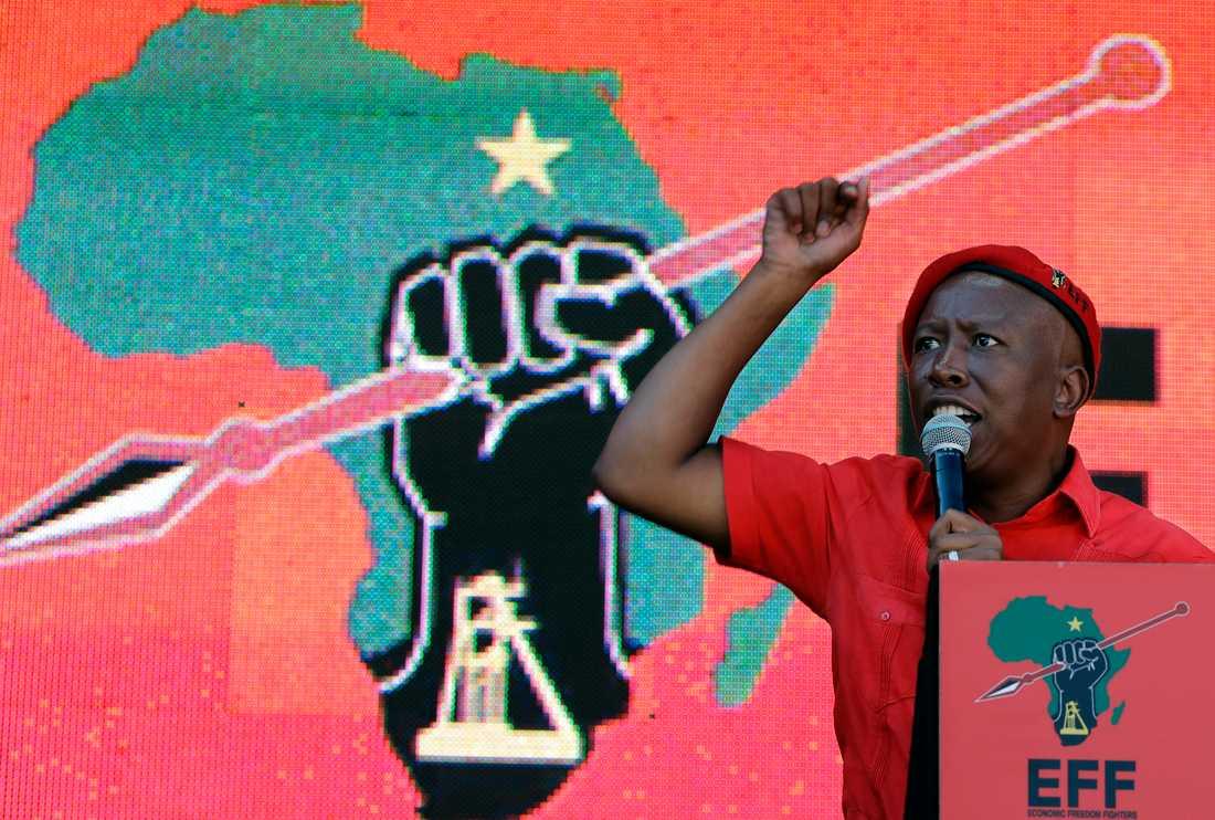 Julius Malema, ledare för vänsterpartiet Ekonomiska frihetskämpar (EFF), talar i Soweto.