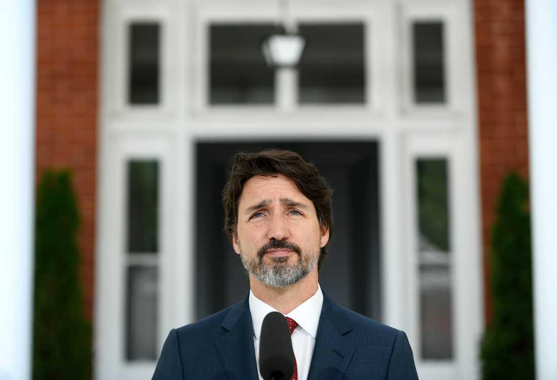 Justin Trudeau utanför sitt residens i Rideau Cottage i Ottawa. Arkivbild.