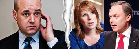Moderaternas Fredrik Reinfeldt tror inte på idén om sänkta ingångslöner för ungdomar. Det gör Annie Lööf (C) och Jan Björklund (FP).