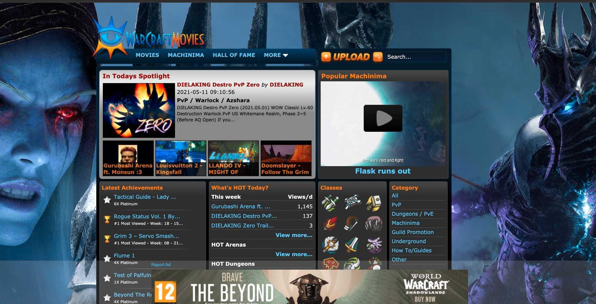 """På sajten """"Warcraftmovies"""" kan användare lägga upp filmer från sina World of Warcraft-spel."""