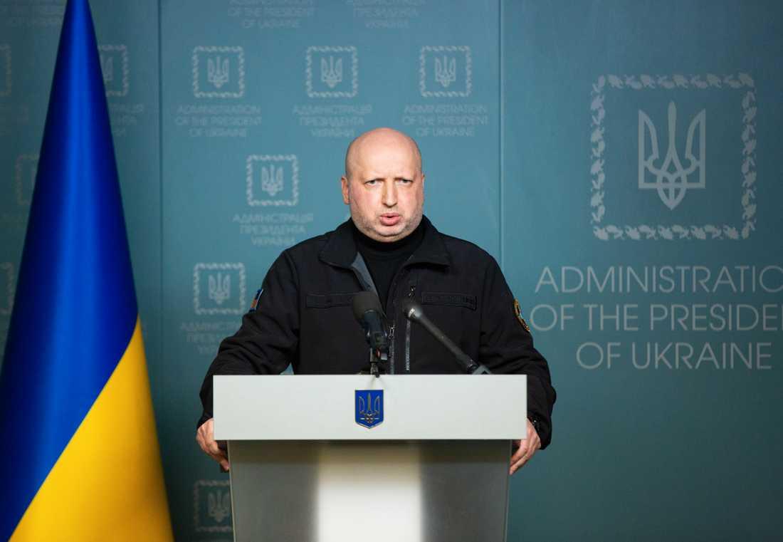 Ukrainska Säkerhetsrådets sekreterare Oleksandr Turchinov uttalar sig om händelsen.