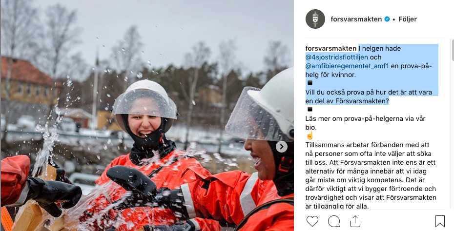 Faksimil från Försvarsmakten på Instagram