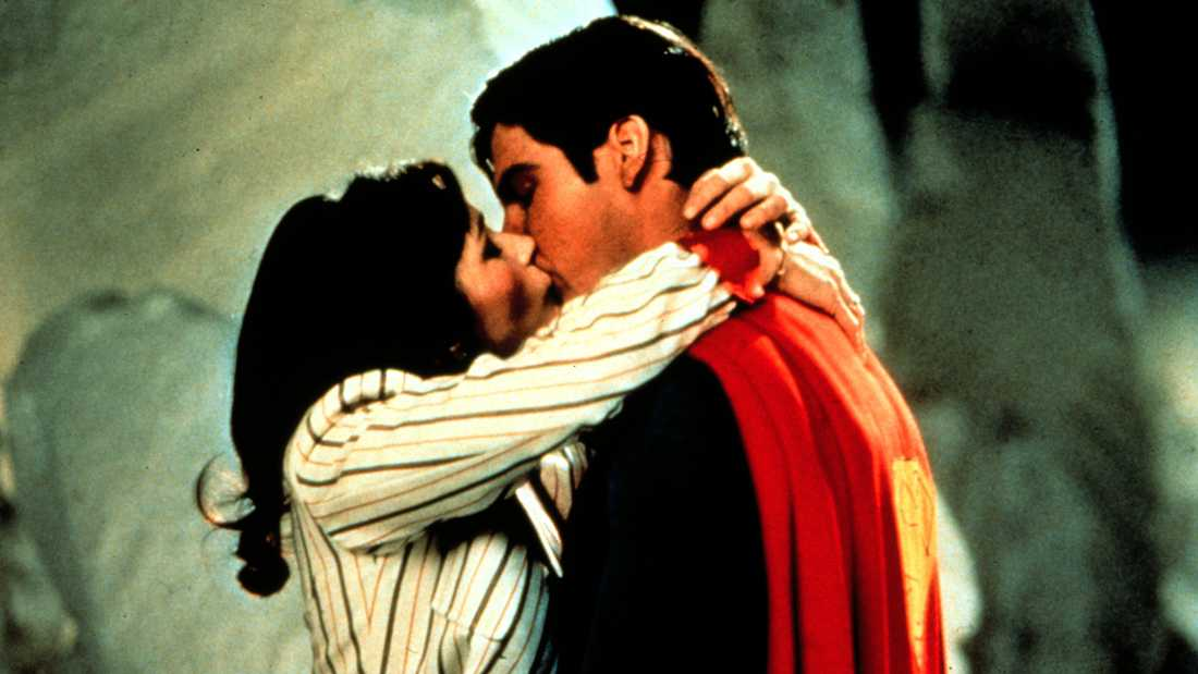"Margot Kidder och Christopher Reeve i ""Stålmannen""."
