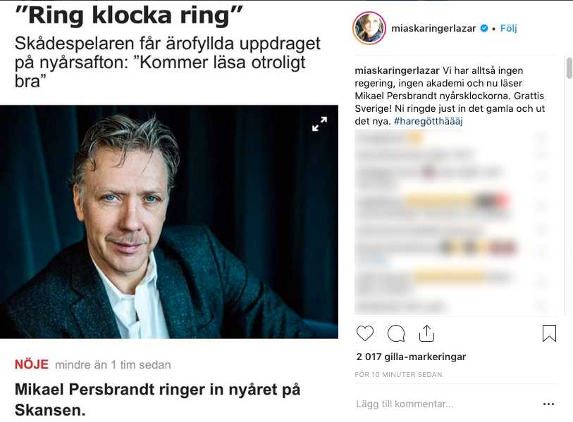 Mia Skäringers kritik mot Mikael Persbrandt på Instagram.