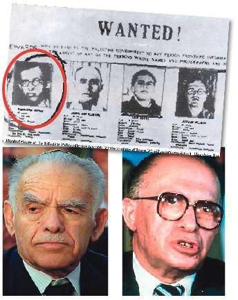 Sternligans ledare Yitzhak Shamir (till vänster) utfärdade dödsdomen mot Folke Bernadotte. Han blev så småningom premiärminister i Israel, precis som Menachem Begin, ledare för terrorgruppen Irgun. Ovan: Efterlysning på Begin (inringad).