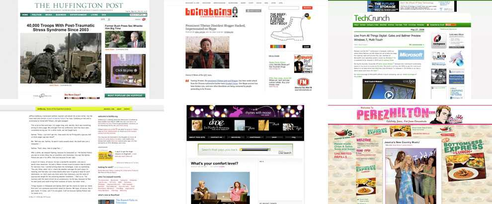 Mäktigaste bloggarna The Huffington Post, Boing Boing, Techcrunch, Kottke, Dooce och Perezhilton ät de mäktigaste bloggarna, om man ska tro tidningen The Guardian.