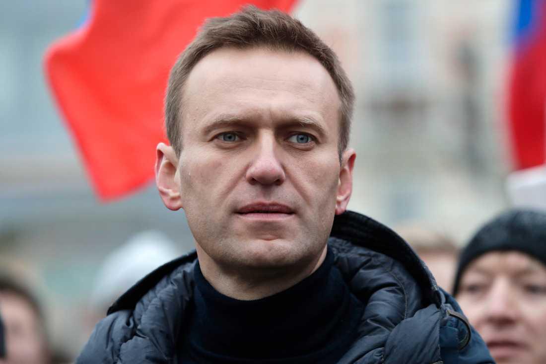 Oppositionspolitikern Aleksej Navalnyj under en demonstration i Moskva i februari. Arkivbild.