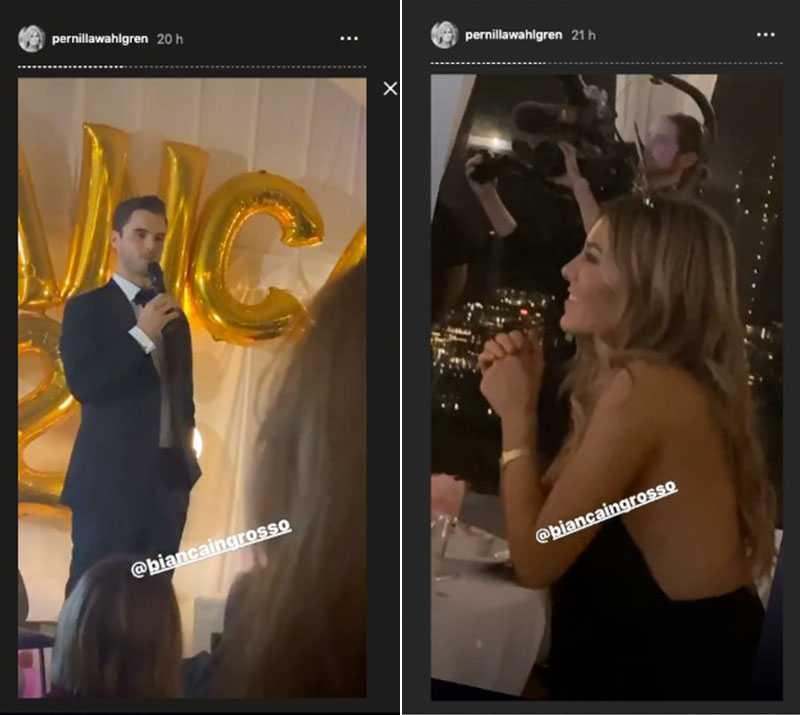 På sitt Instagram dokumenterade Pernilla Wahlgren Phillipes tal till Bianca.