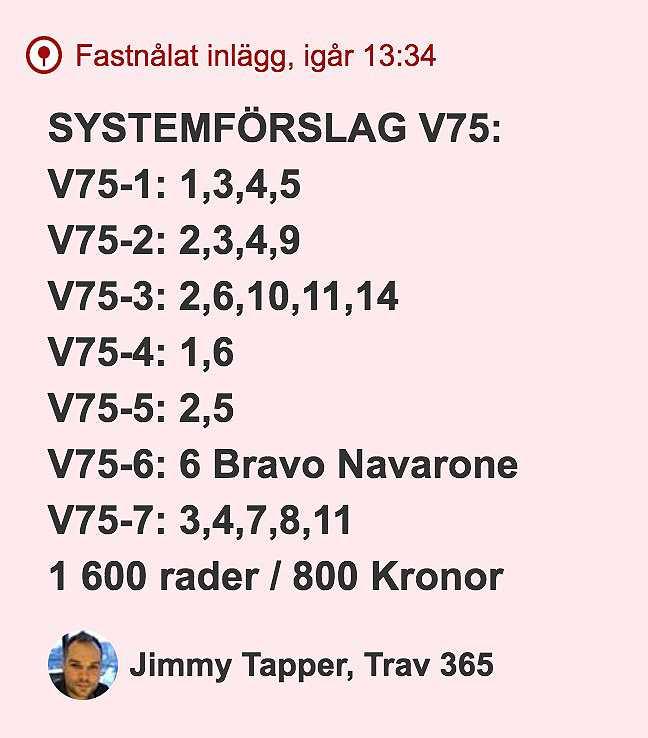 Systemförslaget i Trav365:s livechatt under söndagen.