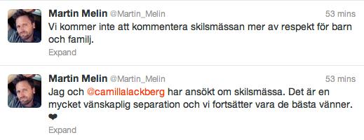 Martin Melin twittrade samma sak.