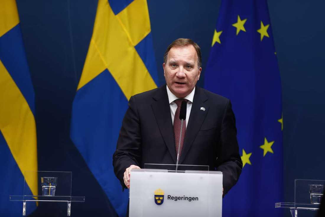 Stefan Löfven under torsdagens pressträff