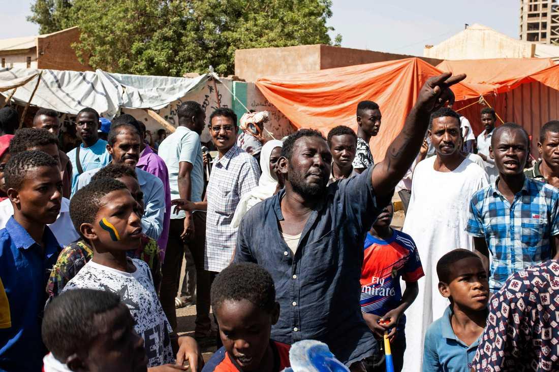 Demonstranter i Khartum i söndags.