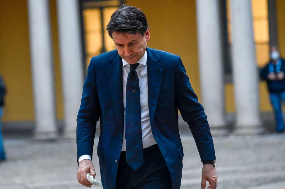 Italiens premiärminister Giuseppe Conte i Milano i måndags.