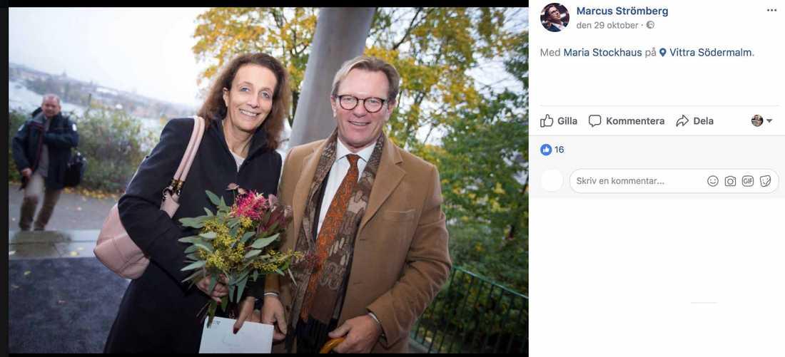 Maria Stockhaus och Michael Svensson går på fest.