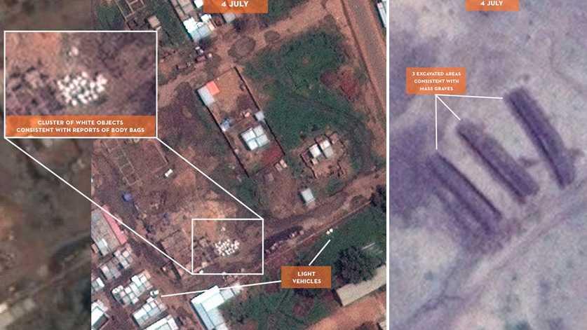 Satellitbilden uppges visa minst 100 döda i en massgrav.