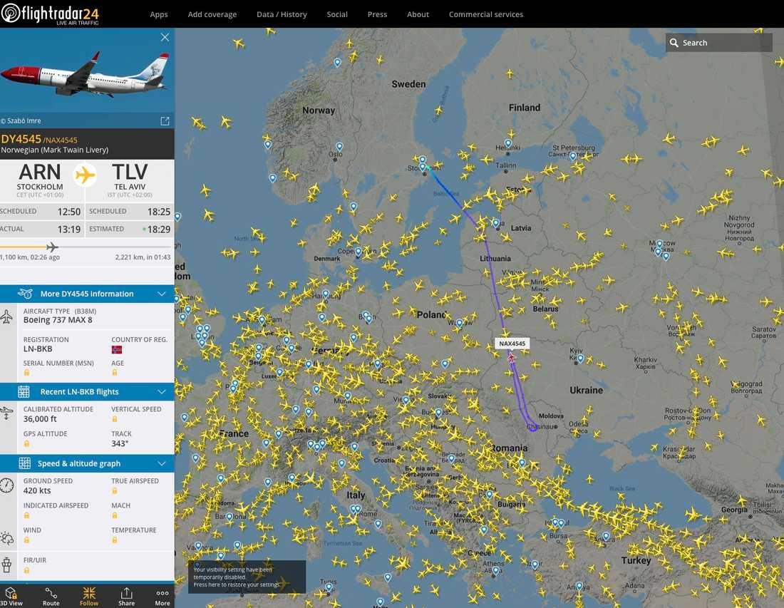 Skärmavbild som visar flygplanet på flightradar24.com.