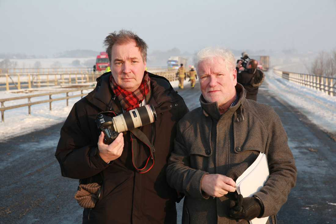Aftonbladets fotograf Krister Hansson och Pelle Tagesson.