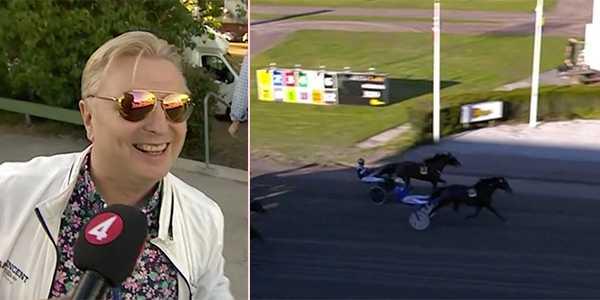 En glad Veijo Heiskanen ser sin Smevikens Cruiser vinna på V75.