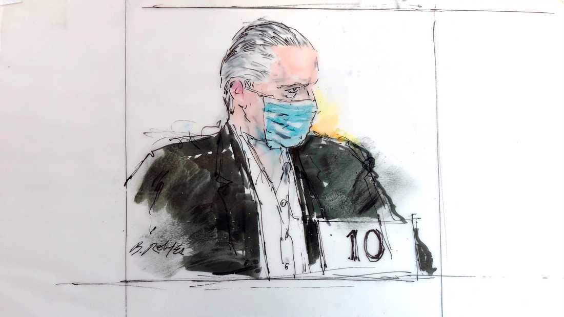 Teckning av Mexikos förre försvarsminister Salvador Cienfuegos i rätten i Los Angeles förra veckan.