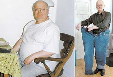 FÖRE Sten Sture Skaldeman vägde över 140 kilo. Han följde myndigheternas kostråd, räknade kalorier, gick till sängs hungrig – men gick inte ner i vikt. EFTER Det var först när han bröt mot alla påbud om vad vi bör äta som kilona började rasa. I dag är Sten Sture Skaldeman 63 kilo lättare och får plats i det ena av sina gamla byxben.