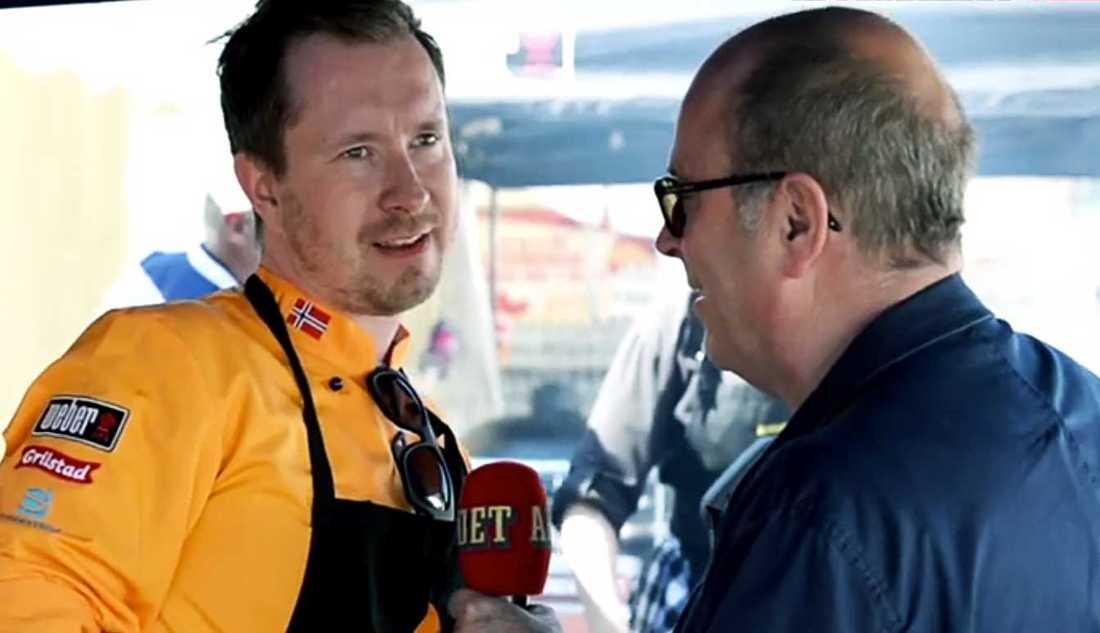 Världsmästerskap Här intervjuas det norska landslaget av Aftonbladet tv:s Jan Scherman.