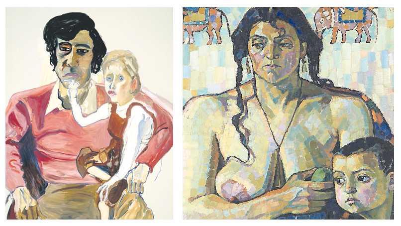 """Alice Neel, """"Don Perlis och Jonathan"""", 1982 och Tora Vega Holmström, """"Främlingar"""", 1913-1914. Båda är inköpta med medel från Det andra önskemuseet."""