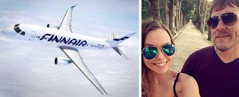 Emelie Berg fick veta att det gick bra att flyga som nötallergiker – men på väg hem blev det tvärstopp. Nu är hon fast på Rhodos med pojkvännen Stavros Mathios.