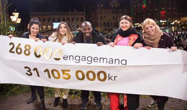 Programledarna Kodjo Akolor, Linnea Henriksson och Gina Dirawi (de tre i mitten) visar upp resultatet av Musikhjälpen 2015.