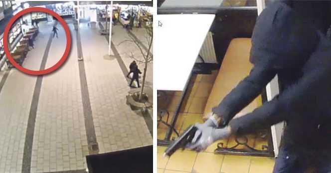Övervakningsbilder från mordet på pizzerian.