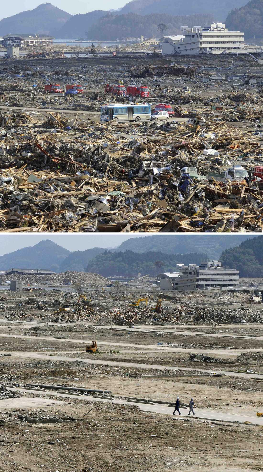 Rikuzentakata i nordöstra Japan efter katastrofen och i dag.