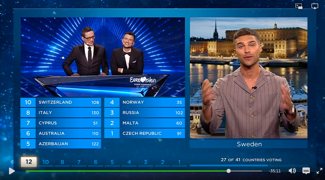 Eric Saade delade ut Sveriges poäng i Eurovision song contest i maj.