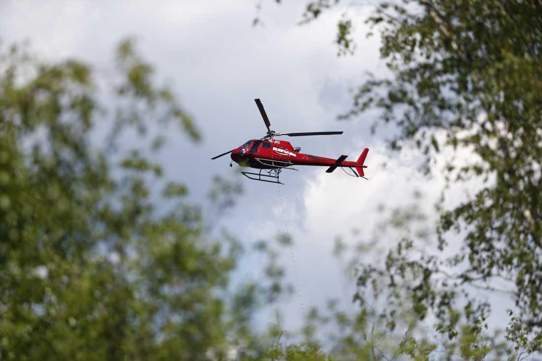 Ett stort räddningspådrag arbetar med en omfattande skogsbrand i Nynäshamns kommun.
