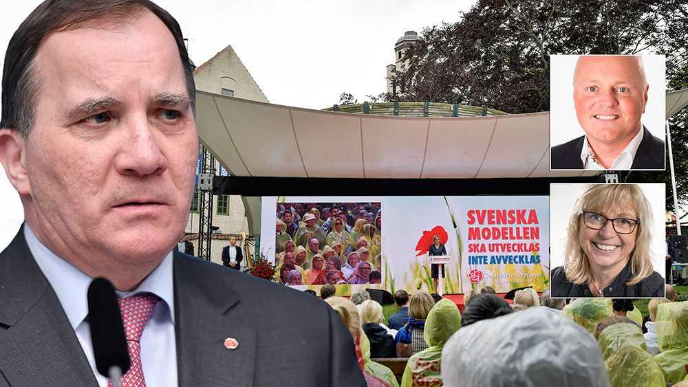 Att statsminister Stefan Löfven väljer att avstå Almedalsveckan är tråkigt, men något vi respekterar. Däremot är sättet han gör det på djupt beklagligt, skriver Eva Nypelius och Peter Lindvall, Region Gotland. Bilden är ett montage.