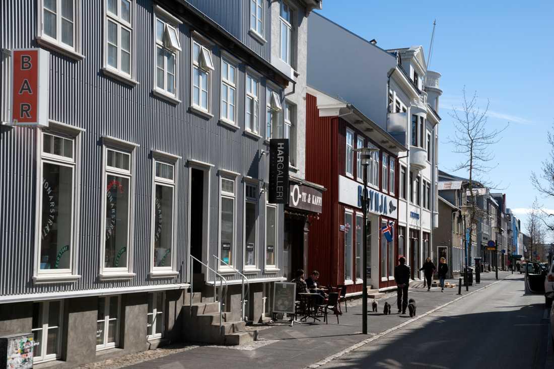 En gata i centrala Reykjavik.
