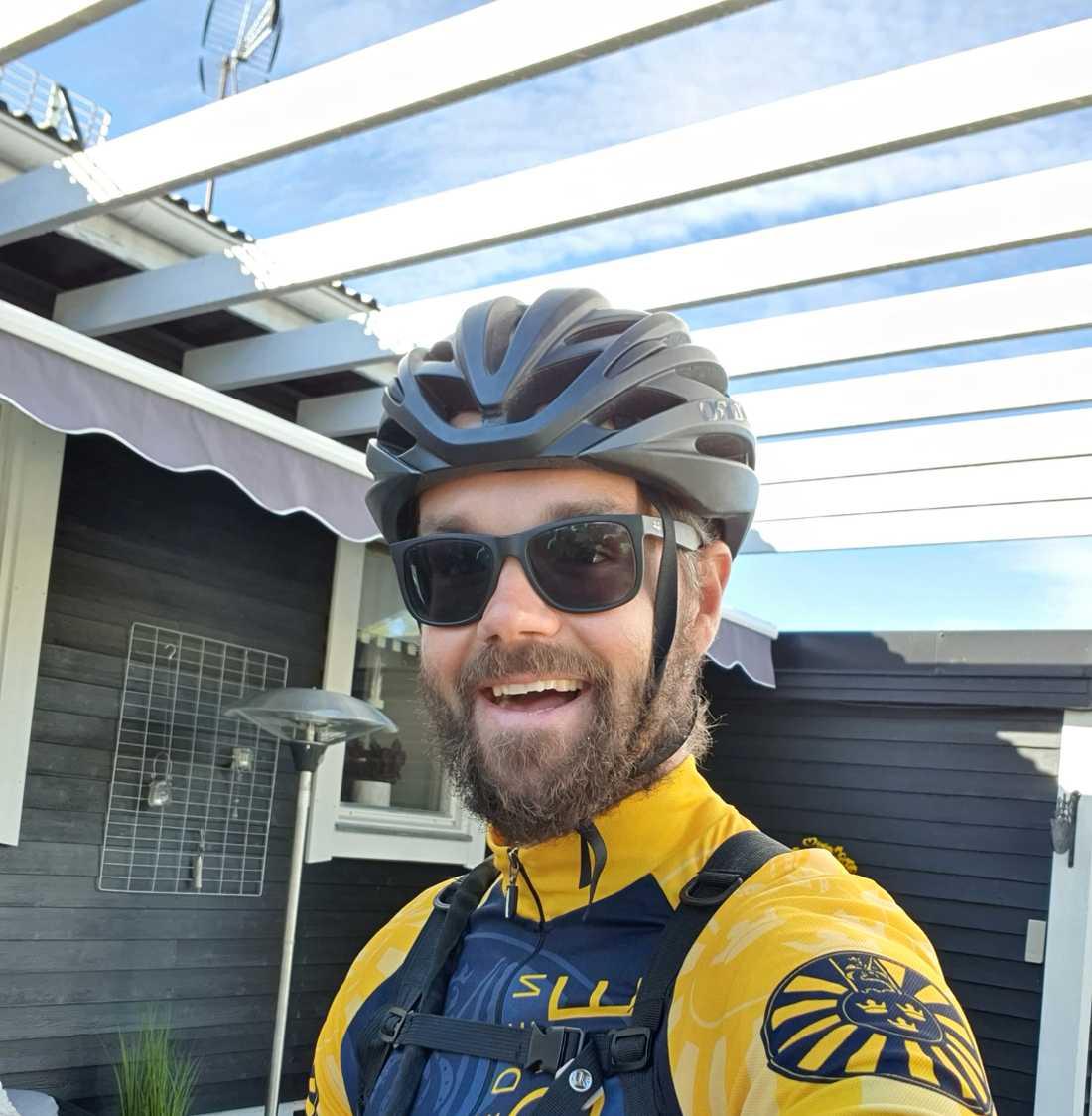 Pierre Mörck hade ingen större erfarenhet av långa cykelturer innan han gav sig iväg.