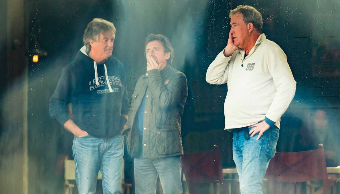 """James May, Richard Hammond och Jeremy Clarkson på inspelningarna av deras nya program """"The Grand Tour""""."""