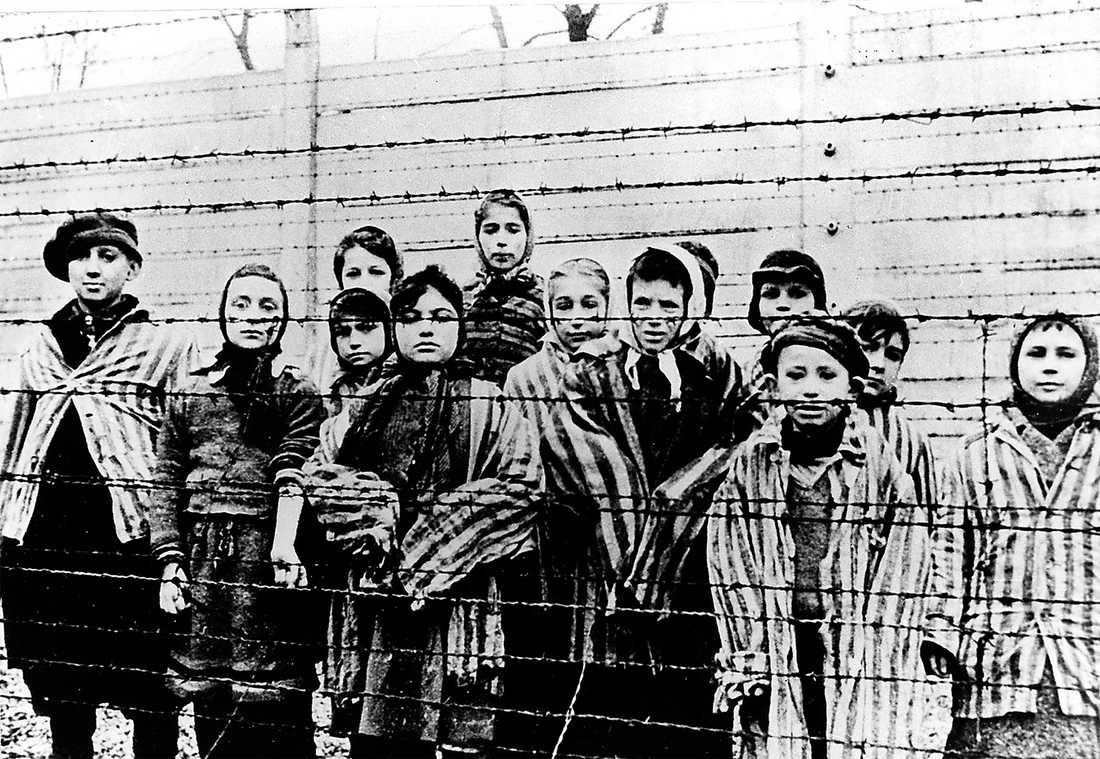 Barn i Auschwitz utrotningsläger efter befrielsen 1945. Foto: AP