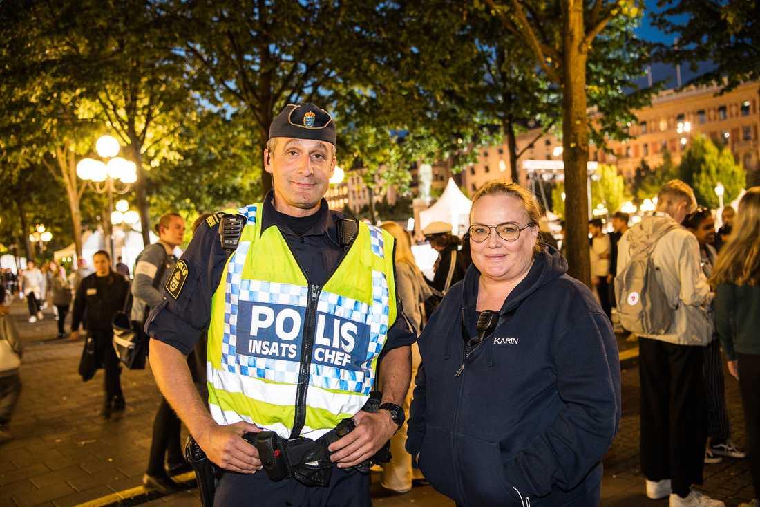 Karin Johannesen, Säkerhetschef We are Stockholm och Krister Olofsson, insatschef i polisen.