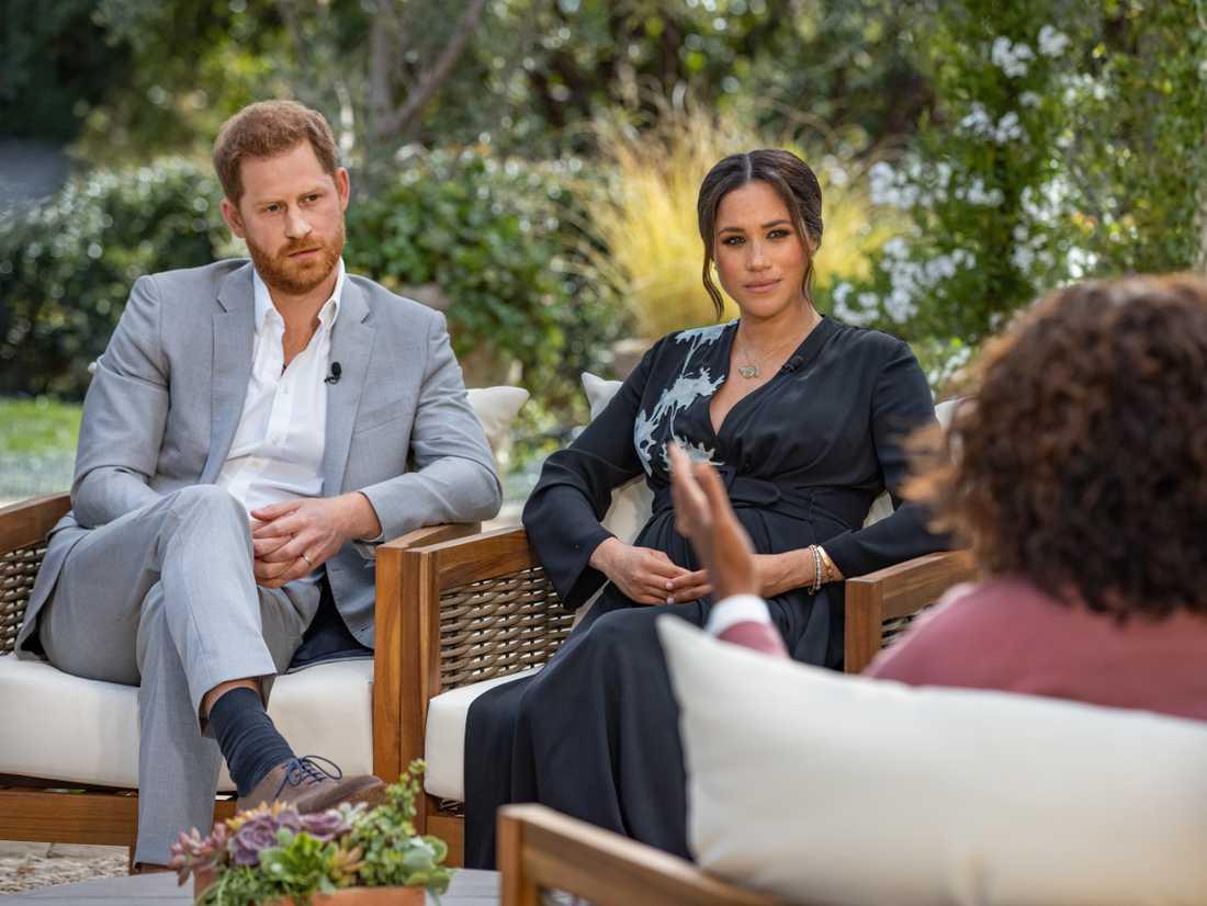 Prins Harry och Meghan Markle vid mötet med Oprah Winfrey.