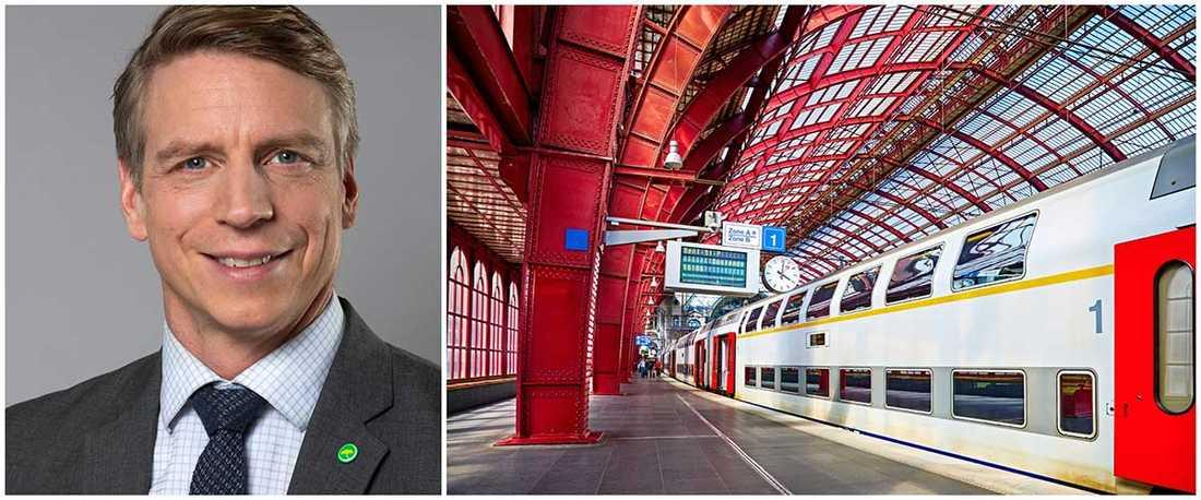 Per Bolund satsar på ett klimatsmart resande med nattåg till Europa. Bilden till höger visar Antwerpens tågstation i Belgien.