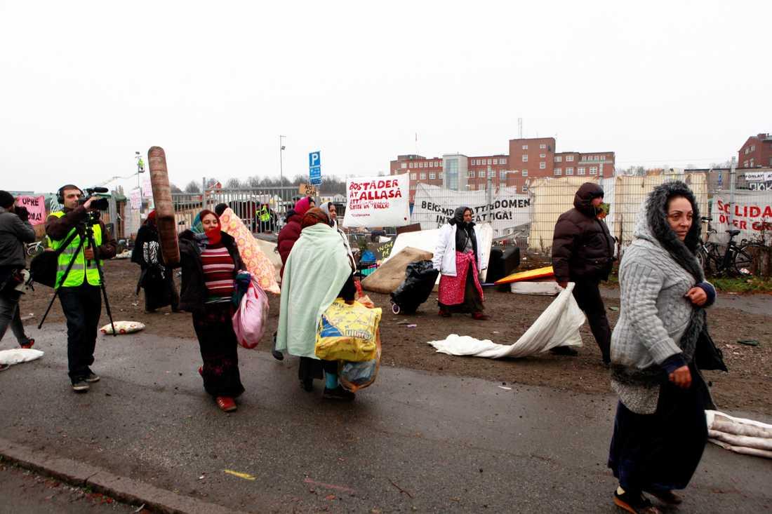 Alla migranter har avhysts från lägret i Malmö.