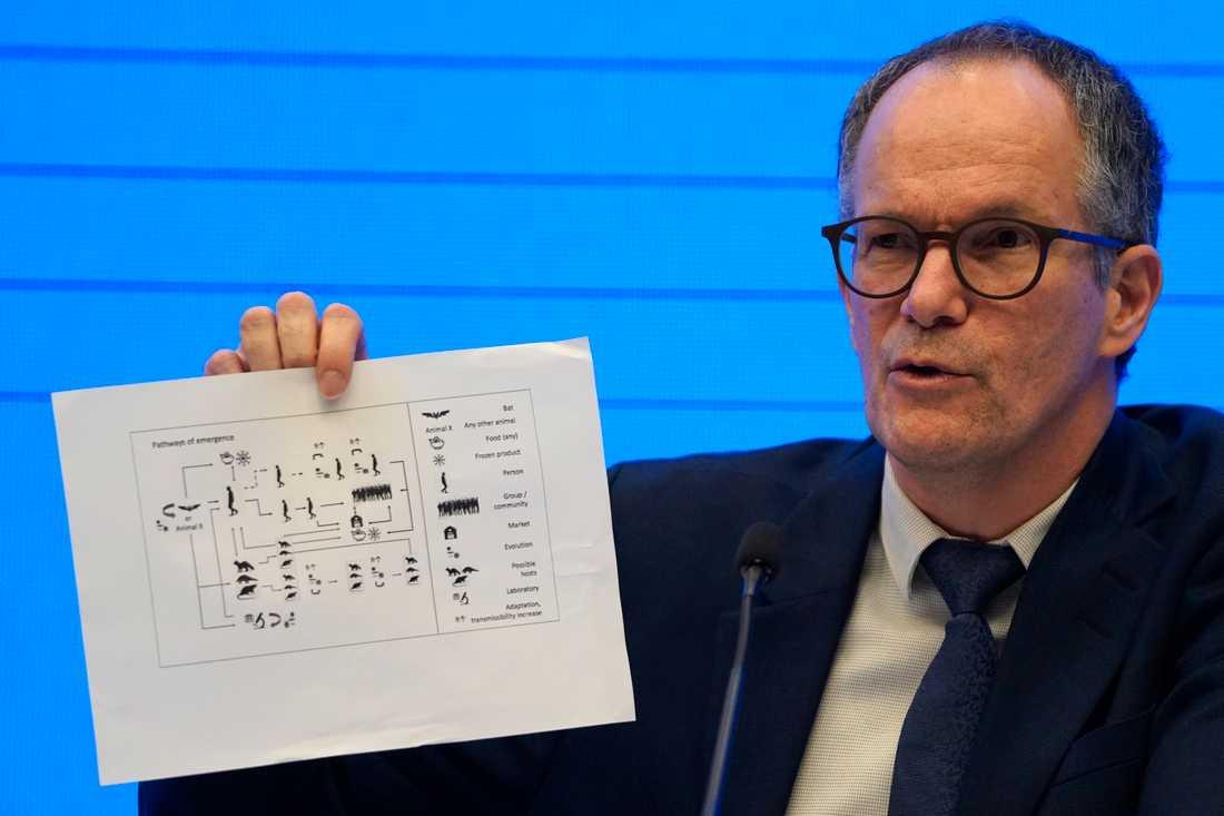 Peter Ben Embarek från Världshälsoorganisationen WHO håller upp en bild som visar olika vägar som viruset spridits.