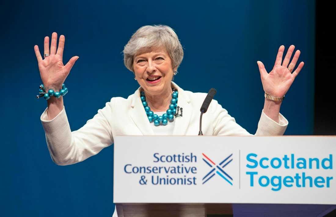 Storbritanniens premiärminister Theresa May träffade i fredags konservativa partikamrater i Skottland.