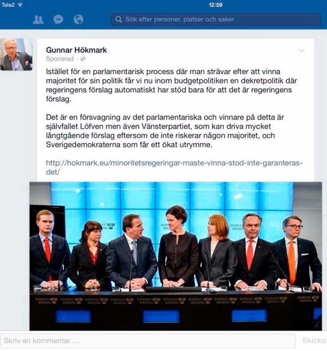 Blogginlägget där Gunnar Hökmark kritiserar uppgörelsen sprids i köpta inlägg på Facebook.