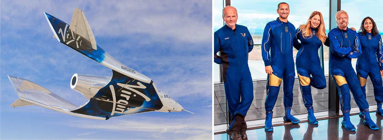Virgin Galactics rymdfarkost under en testflygning i New Mexicos luftrum, och dagens besättning. Richard Branson är fjärde personen från vänster.