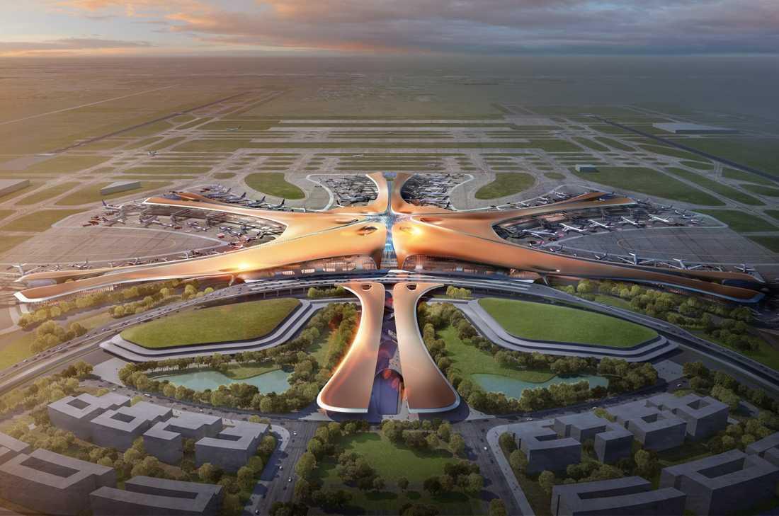 Den nya flygplatsen i Peking är formad som en sjöstjärna.