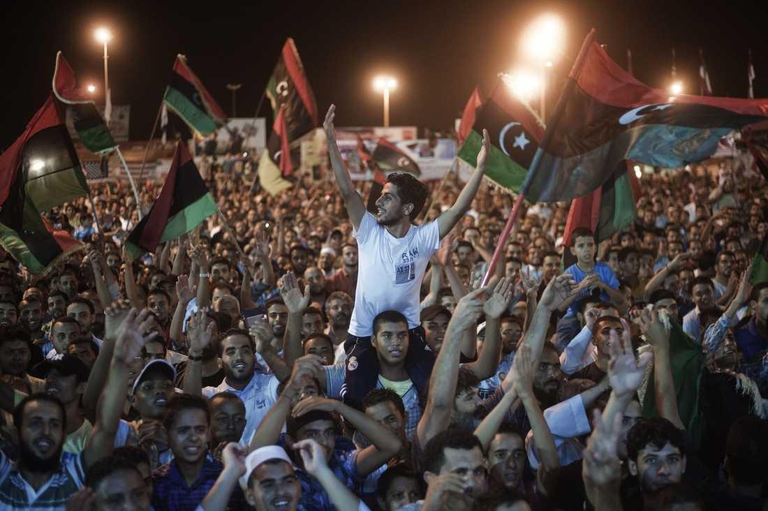 FRIHETSTORGET Benghazi i går kväll.