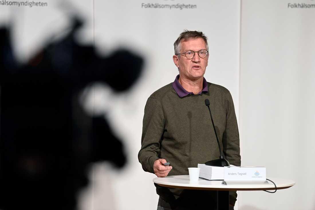 Anders Tegnell på torsdagens pressträff.