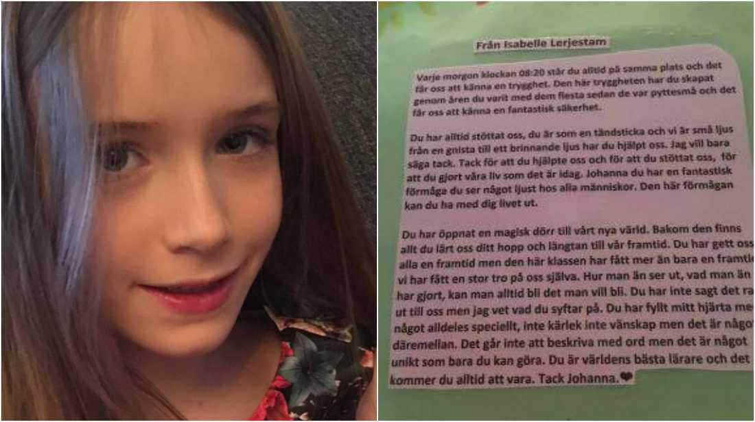 Isabelle hyllar sin lärare med en fin dikt.